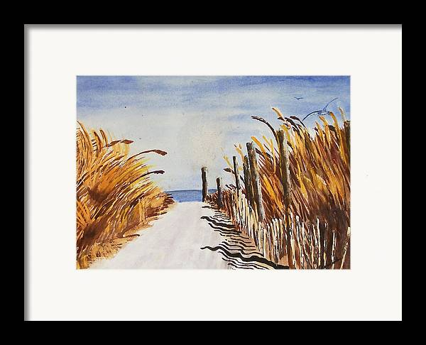 Beach Framed Print featuring the painting Tall Grass With Drift Fence by Robert Thomaston