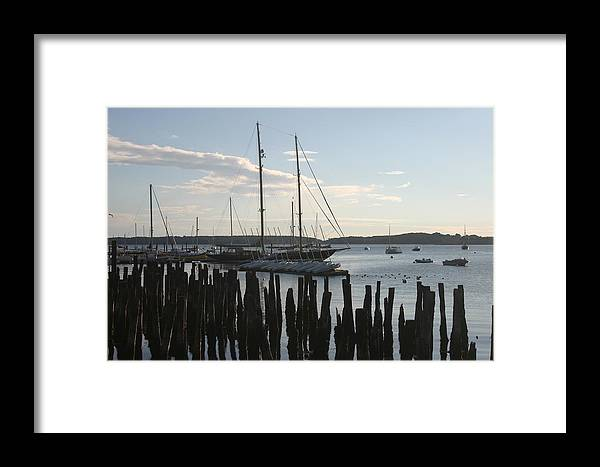 Landscape Framed Print featuring the photograph Tall Ship At Dock by Dennis Curry