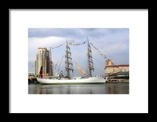 Tampa Bay Florida Framed Print featuring the photograph Tall Ship In Tampa Bay by David Lee Thompson