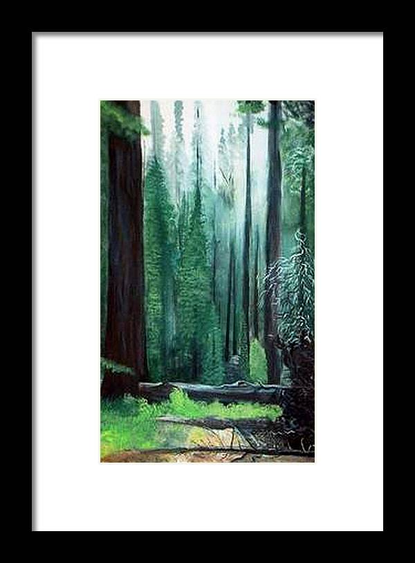Landscape Framed Print featuring the painting Tall Trees by Julie Lamons