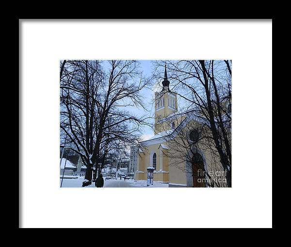 Tallin Framed Print featuring the photograph Tallin Church In Winter by Margaret Brooks
