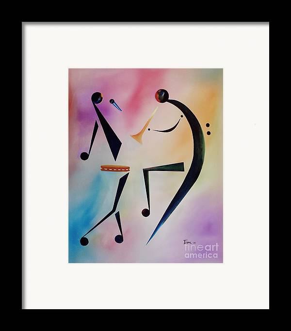 Trumpet Framed Print featuring the painting Tambourine Jam by Ikahl Beckford