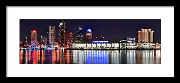 Tampa Framed Print featuring the photograph Tampa Bay Panorama by Frozen in Time Fine Art Photography