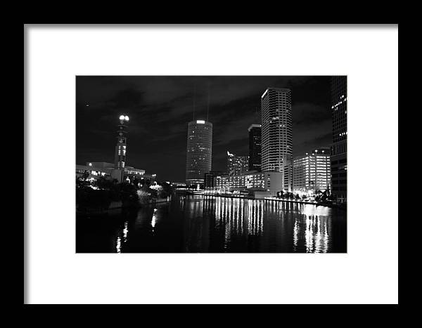 Tampa Framed Print featuring the photograph Tampa Skyline West Night Black And White by Larry Underwood