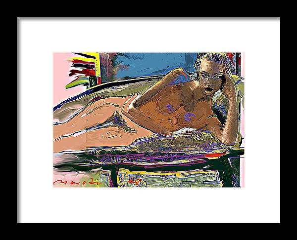 Nude Framed Print featuring the painting Tan by Noredin Morgan
