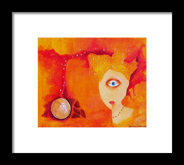 Tangerine Orange Eyes Woman Pearls Thoughts Life Egg Framed Print featuring the painting Tangerine Dream by Veronica Jackson