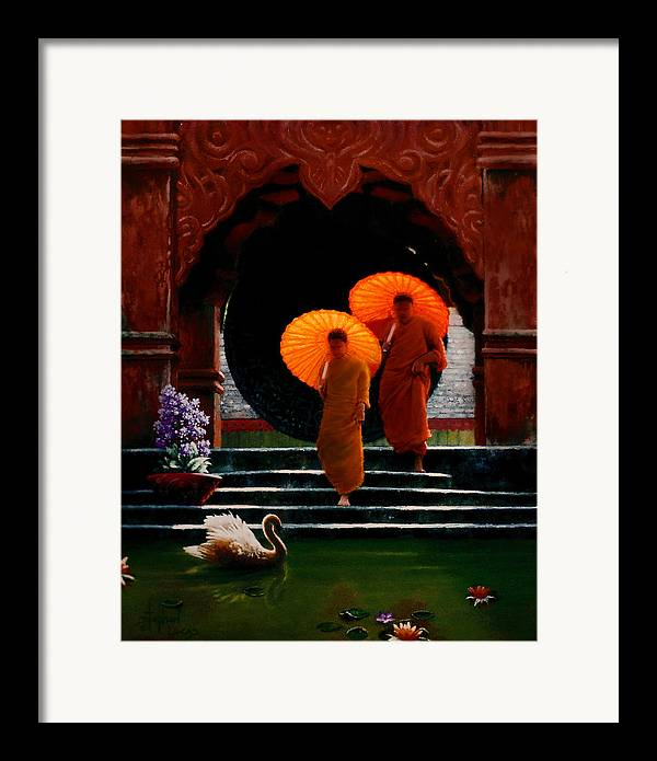 Oriental Framed Print featuring the painting Tangerine Parasols by Stephen Lucas