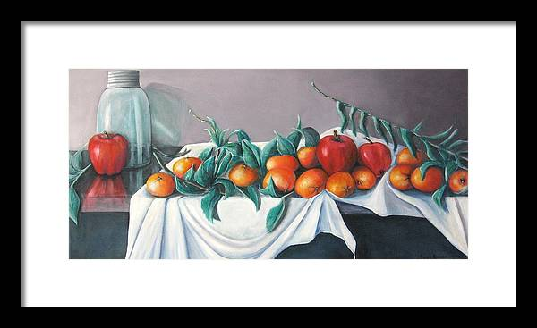 Still Life Framed Print featuring the painting Tangerines And Apples by Eileen Kasprick