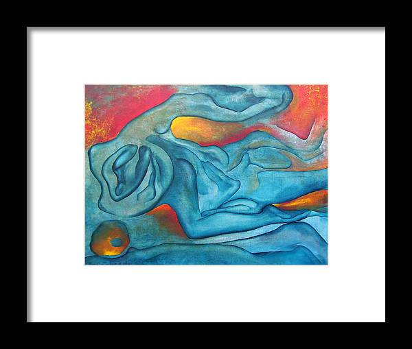 Abstract Blues Love Passion Sensual Earth Framed Print featuring the painting Tangled Up by Veronica Jackson
