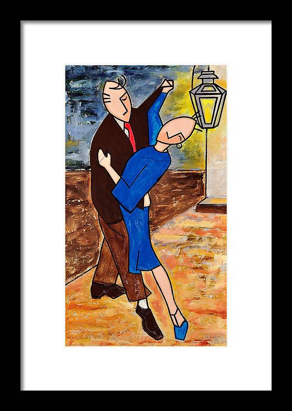 Blue Tango Framed Print featuring the mixed media Tango 2 by Victor Madero