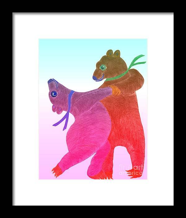 Bears Framed Print featuring the painting Tango Bears by Tess M J Iroldi
