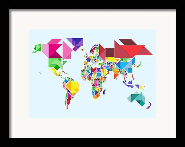 Tangram Map Framed Print featuring the digital art Tangram Abstract World Map by Michael Tompsett