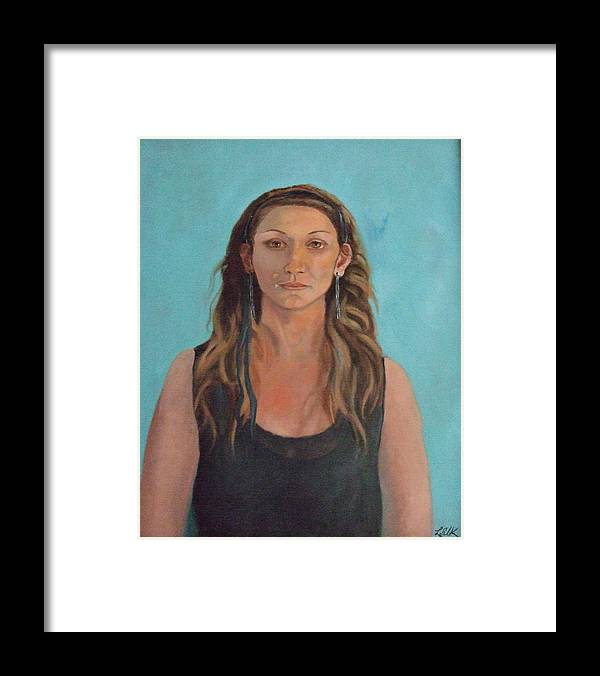Framed Print featuring the painting Tania On Turquiose by Lois Silk