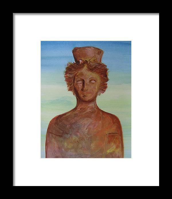 Icon Framed Print featuring the painting Tanit Mythical Godess Of Ibiza by Lizzy Forrester