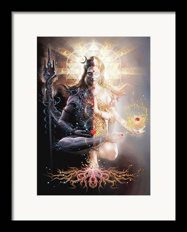Ardhnarishwar Framed Print featuring the digital art Tantric Marriage by George Atherton
