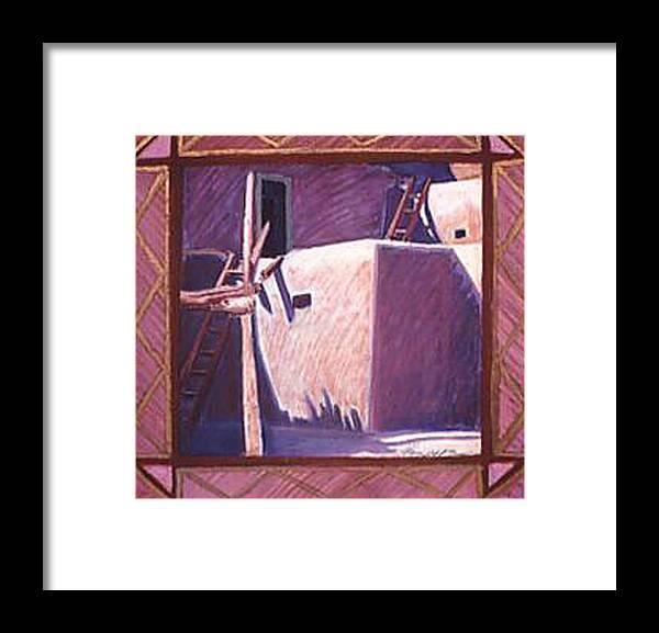 Pueblo Art Framed Print featuring the pastel Taos Corner by Jo Thompson