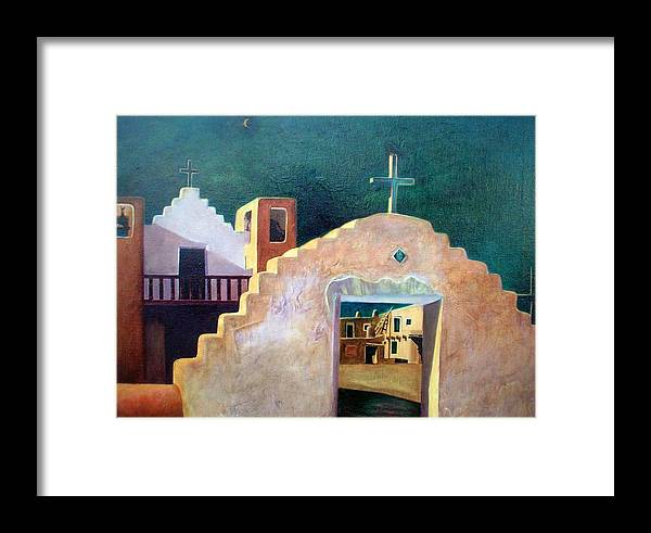 Oil Framed Print featuring the painting Taos Evening Shadows by Stephen Hanson
