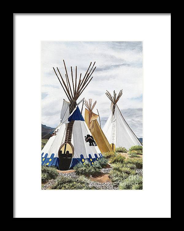 Art Framed Print featuring the painting Taos by Mary Rogers