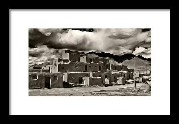 Taos Pueblo Framed Print featuring the photograph Taos Pueblo by Lou Novick