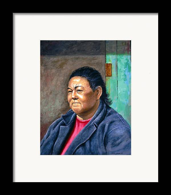 Portraiture Framed Print featuring the painting Taos Pueblo Woman by Brooke Lyman