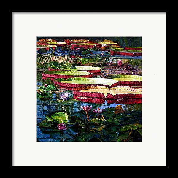 Landscape Framed Print featuring the painting Tapestry Of Color And Light by John Lautermilch