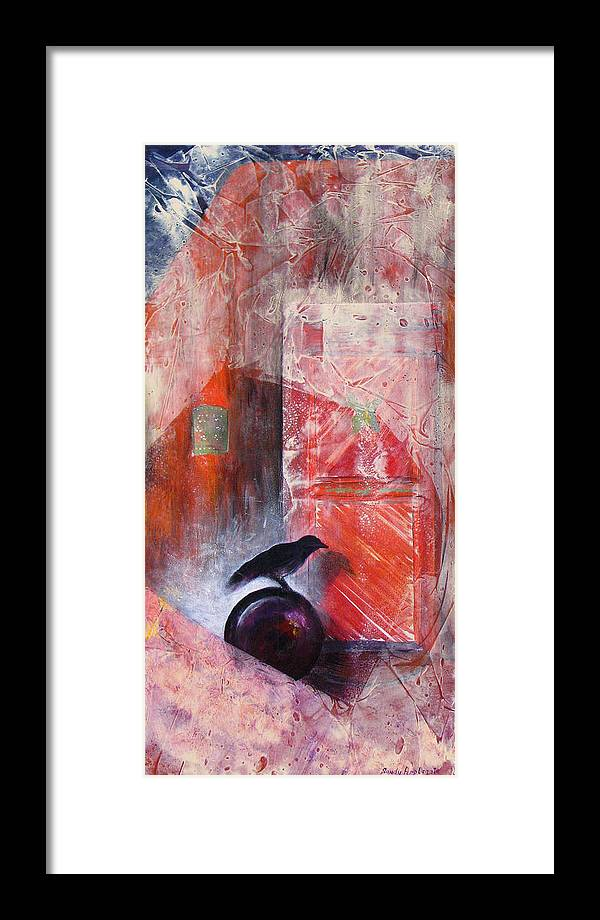 Raven Framed Print featuring the painting Tapping At My Chamber Door by Sandy Applegate