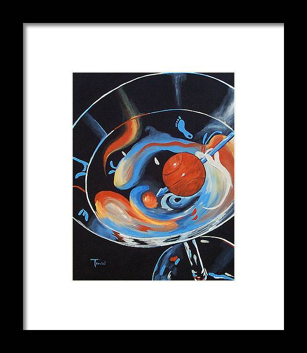 Basketball Framed Print featuring the painting Tar Heel Martini by Torrie Smiley