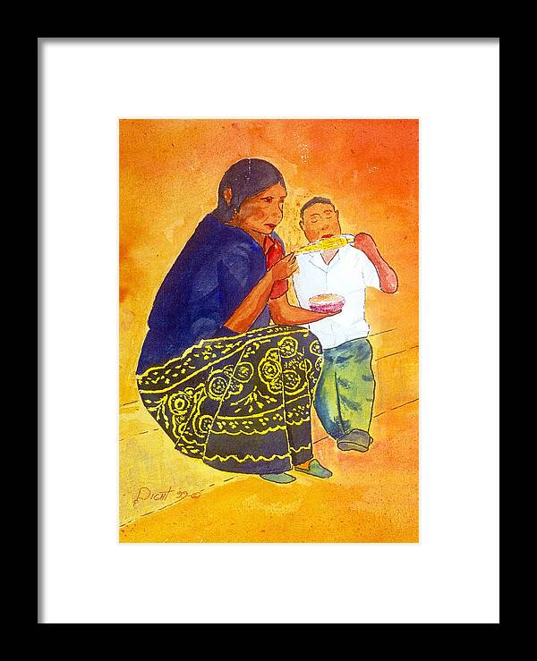 Indian Women & Child Framed Print featuring the painting Tarascan Senora And Nino by Buster Dight