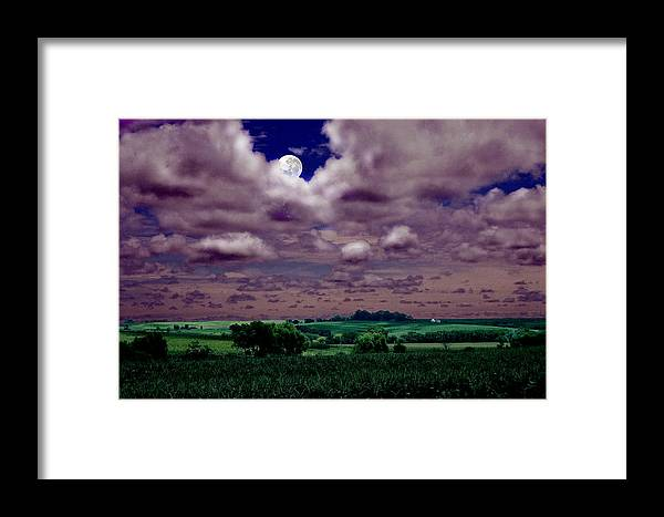 Landscape Framed Print featuring the photograph Tarkio Moon by Steve Karol
