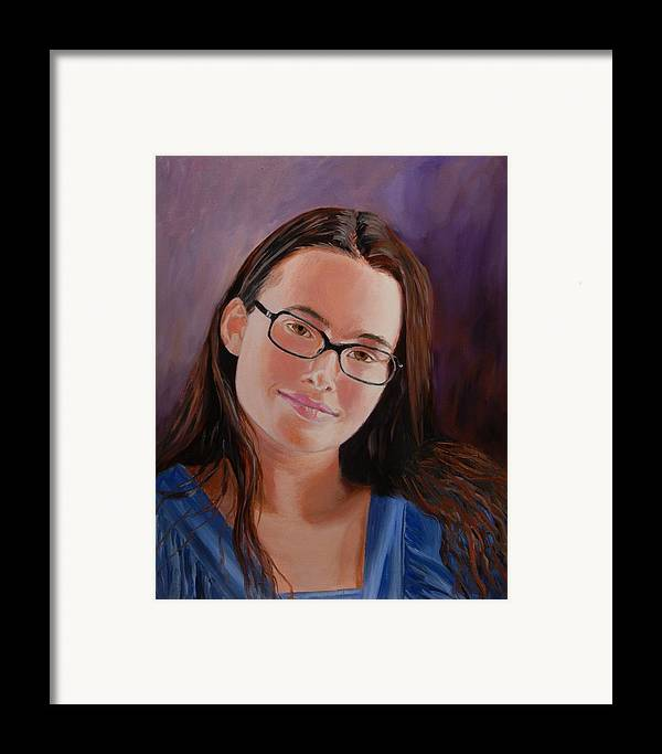Portrait Framed Print featuring the painting Taryn Snow by Quwatha Valentine