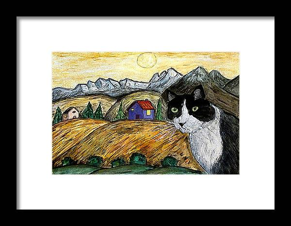 Cat Framed Print featuring the painting Tashas Sunset by Monica Engeler