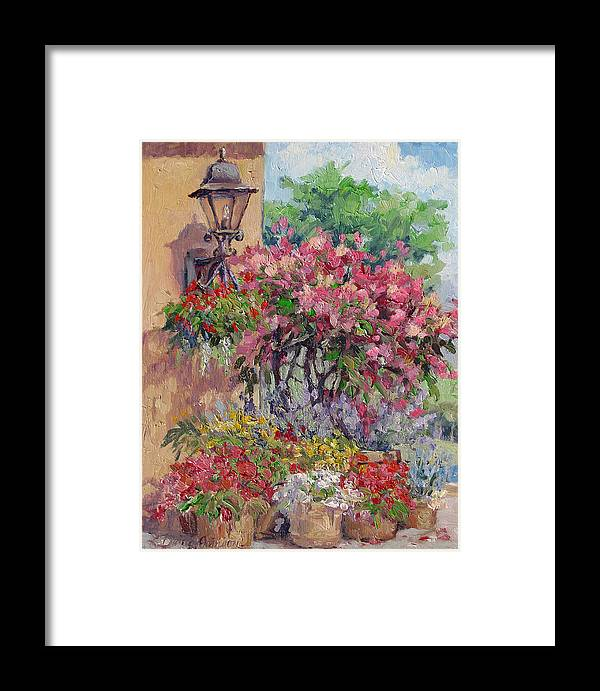 Flowering Trees Framed Print featuring the painting Taste Of Italy by L Diane Johnson