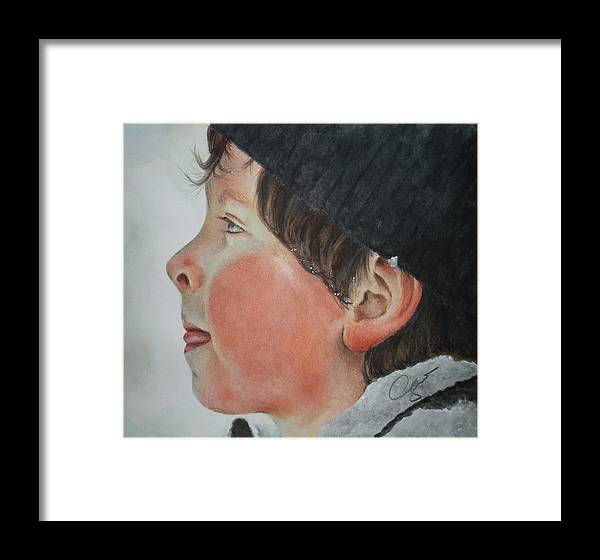 Portrait Framed Print featuring the painting Taste The Cold by Cynthia Satton