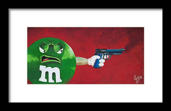 M & M Framed Print featuring the painting Taste The Rainbow Of Bullets Bitch Part 1 by Chris Fifty-one