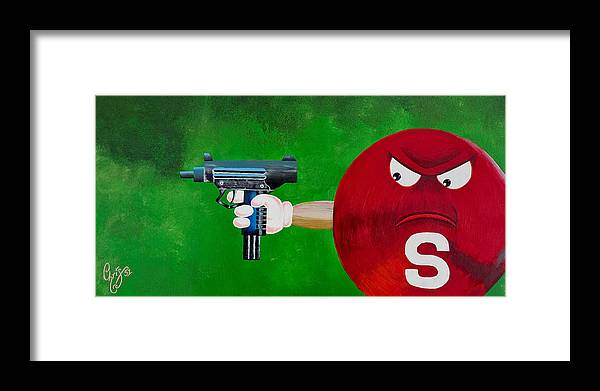 M & M Framed Print featuring the painting Taste The Rainbow Of Bullets Bitch Part 2 by Chris Fifty-one