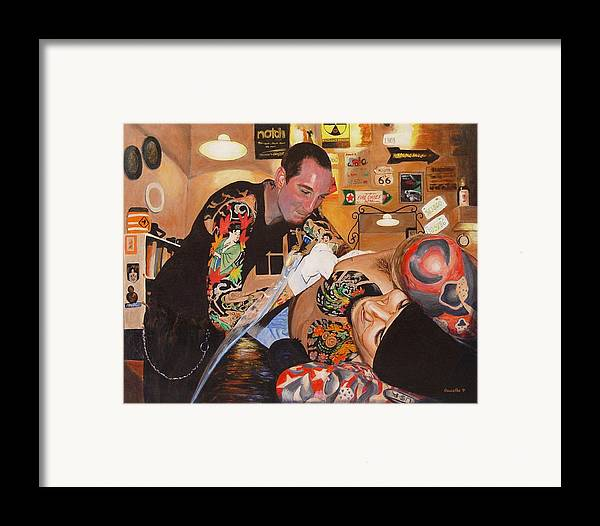 Portrait Framed Print featuring the painting Tattoo Artist by Quwatha Valentine