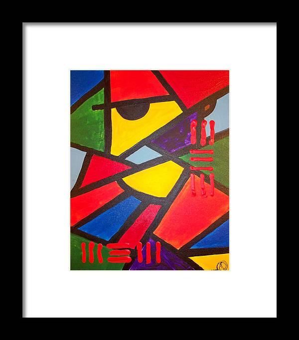 Absract Framed Print featuring the painting Tatu by Malik Seneferu