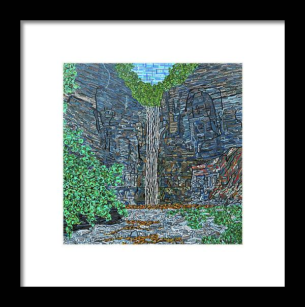 Taughannock Falls Framed Print featuring the painting Taughannock Falls by Micah Mullen