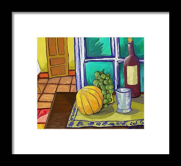 Figurative Framed Print featuring the painting Taula I Melo by Xavier Ferrer