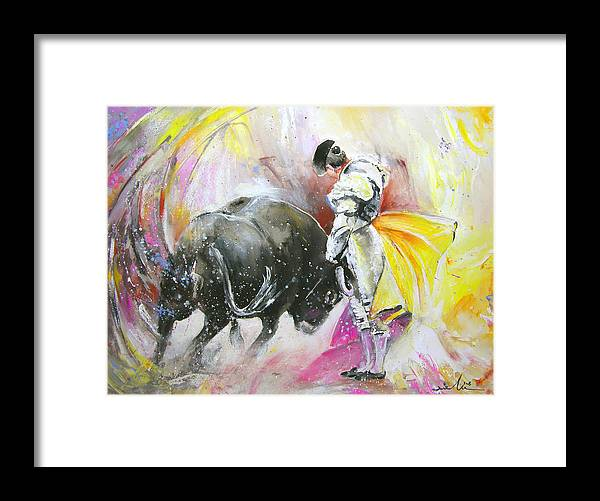 Animals Framed Print featuring the painting Taurean Power by Miki De Goodaboom