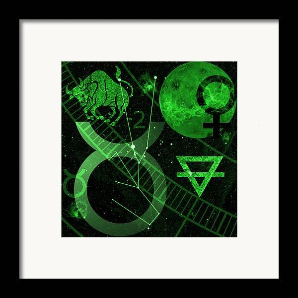 Horoscope Framed Print featuring the digital art Taurus by JP Rhea
