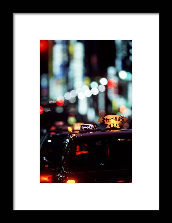 Taxi Framed Print featuring the photograph Taxis On The Ginza by Brad Rickerby