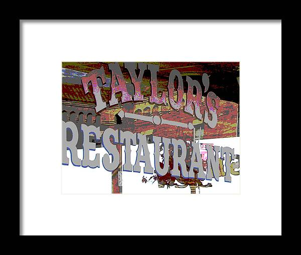 Cafe Framed Print featuring the photograph Taylors by Audrey Venute