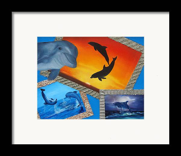 Framed Print featuring the painting Taylors Dolphins by Darlene Green