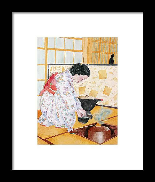 Japanese Woman Performing Tea Ceremony Framed Print featuring the painting Tea Ceremony by Judy Swerlick
