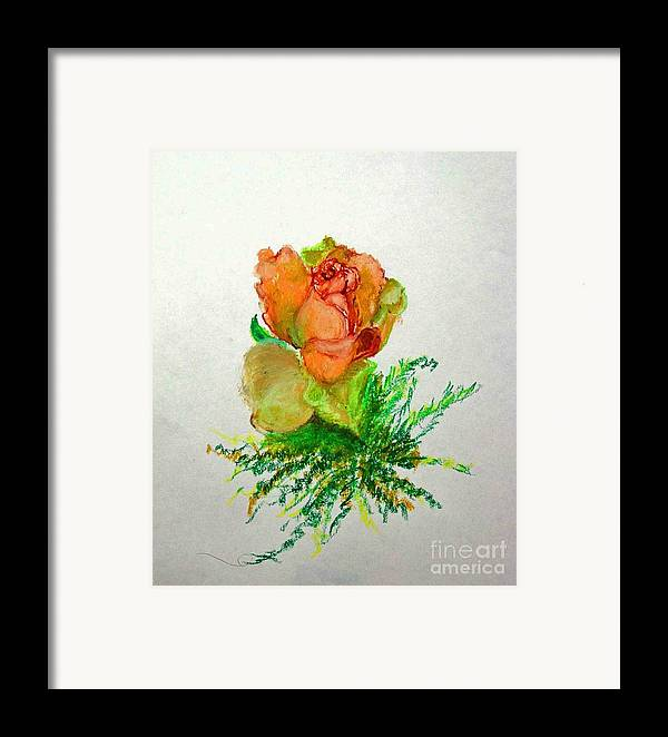 Greeting Card Framed Print featuring the painting Tea Rose            Copyrighted by Kathleen Hoekstra