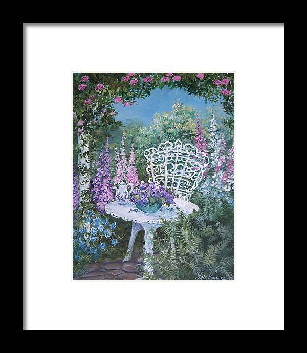 Garden;flowers;teapot;ornamental;roses; Framed Print featuring the painting Tea Time In The Garden by Lois Mountz