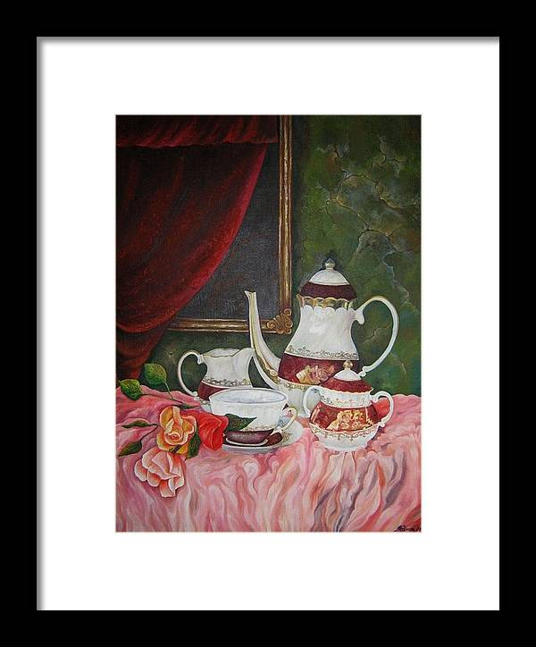 Still Life Framed Print featuring the painting Tea Time by Netka Dimoska