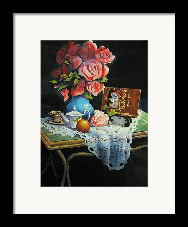Stillife Framed Print featuring the painting Tea Time by Robert Carver