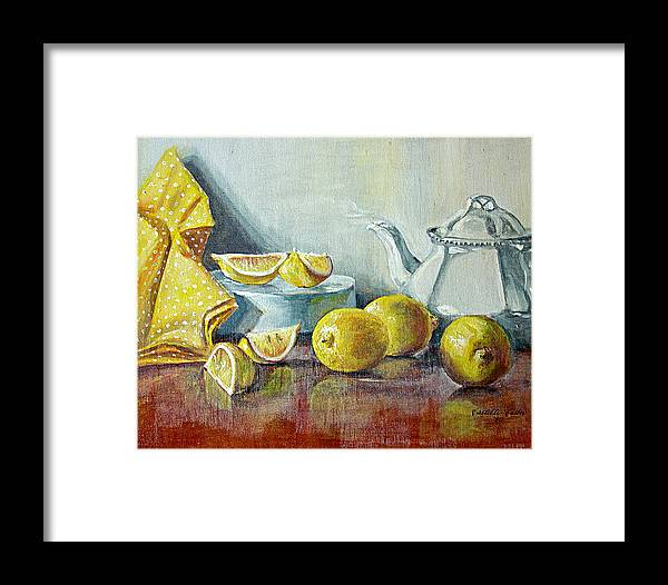 Tea Framed Print featuring the painting Tea With Lemon by JoAnne Castelli-Castor